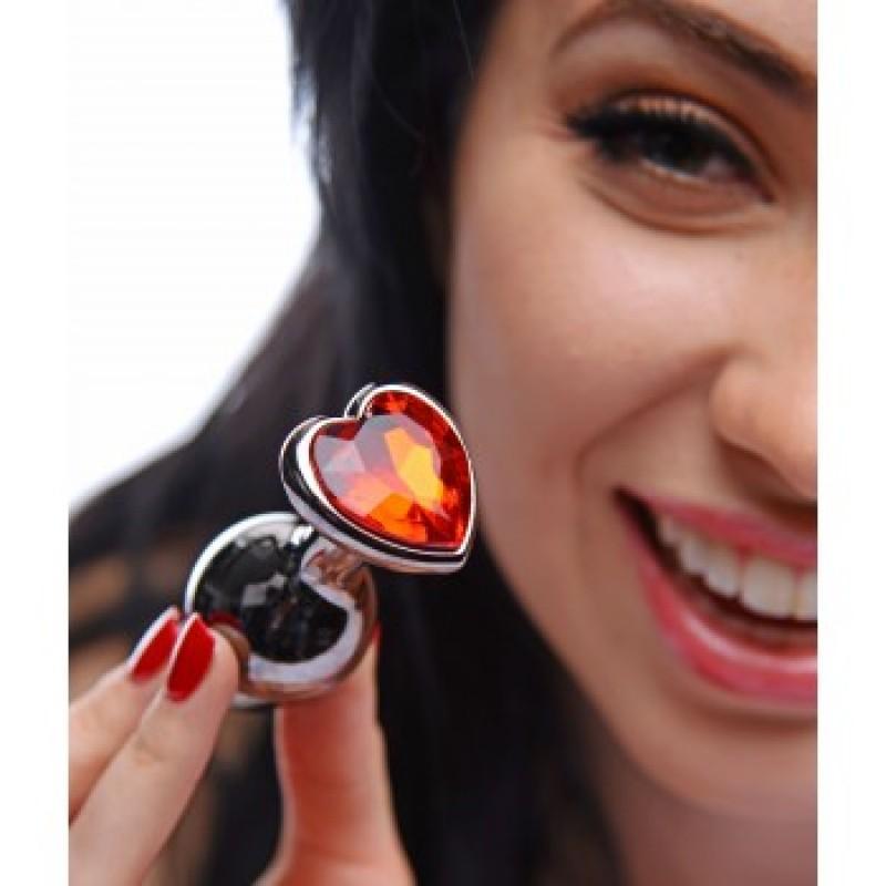 Метално дилдо  Silver Crystal Heart 7 см. - Анални дилда (butt plug)   Цена: 49.00 лв.