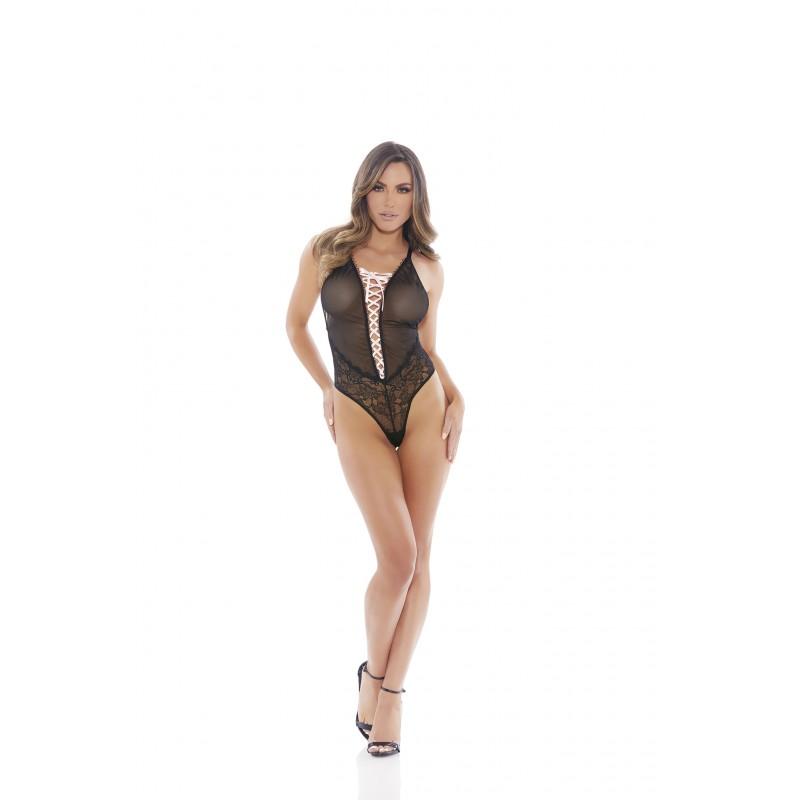 Елегантно дантелено боди с регулируеми връзки отпред - Секси бодита | Цена: 69.00 лв.